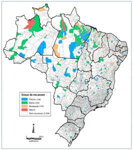 Gráfico mapeia a escassez de médicos no Brasil.
